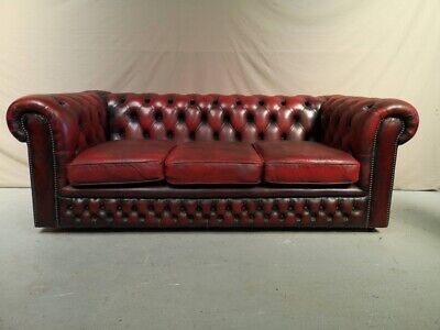 Canape Chesterfield Cuir Rouge Trois Places