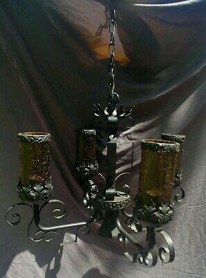 Antique Wrought Cast Iron Glass Lantern Chandelier Gothic Hanging Lamp Light