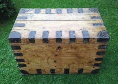 Antique Pine Travel Chest Large Victorian Pine Campaign Trunk Coffee Table Box