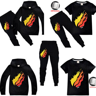 Hot Prestonplayz Boys Girls Cosplay Casual T-shirts Top Hoodie+ trousers Sets UK