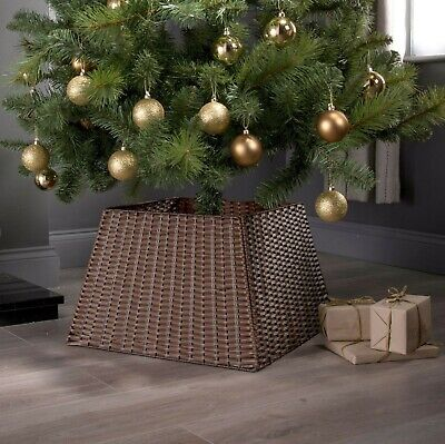 Rattan Christmas Xmas Tree Skirt Wicker Stand Base Basket Cover Tidy Decor Brown