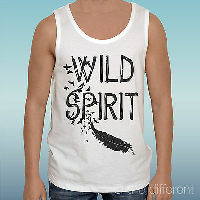 """Jersey T-Shirt Man /"""" Wild Spirit Feather /"""" Gift Idea Road to Happiness"""
