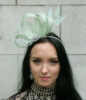 Mint Green Silver Fascinator Feather Sinamay Hair Races Wedding Cocktail 7484