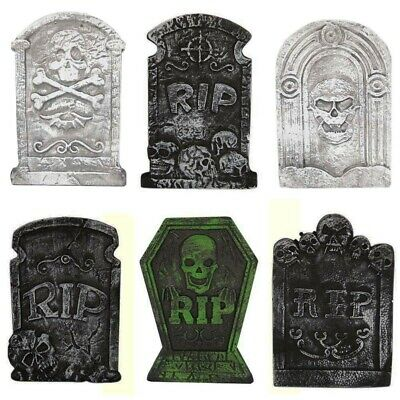 6 Pack Graveyard Tombstones Headstone For Halloween Yard Decorations 15 Inch New