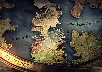 GAME OF THRONES WESTEROS & ESSOS MAP POSTER Wall Art Print Photo A3 A4