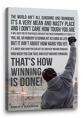 """ROCKY BALBOA FAMOUS MOVIE QUOTE CANVAS Photo Poster Print Wall Art """"30x20 canvas"""