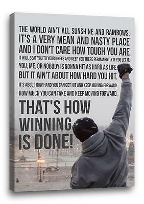 """ROCKY BALBOA FAMOUS MOVIE QUOTE CANVAS Poster Photo Print Wall Art """"30x20 canvas"""