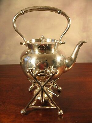 Antique Vintage Victorian English Silver Plate Spirit Kettle J Rodgers Sheffield