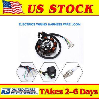 Electrics Complete Full Wiring Harness Wire Loom For Motorcycle ATV Stator CDI
