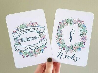 Pregnancy Milestone bump cards photo prop pregnancy gift A3