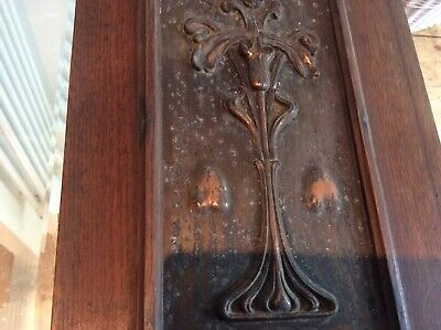 Beautiful art Nouveau Mirror From A Sideboard With Beautiful Copper Plates