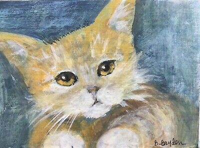 orange White Cat Kitten Tabby ACEO Original Miniature Painting  Cape Cod Artist