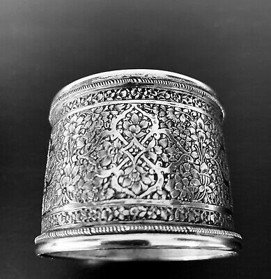 Antique hand engraved Persian Islamic Arabic solid silver napkin ring  50 g