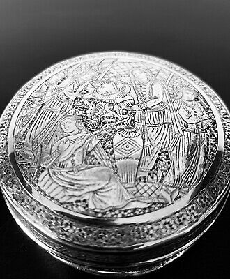 Stunning Antique hand engraved Persian Islamic Arabic solid silver round box 90g