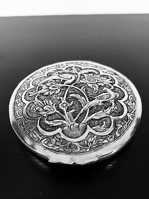 Antique hand engraved Persian Islamic Arabic solid silver powder case 61g