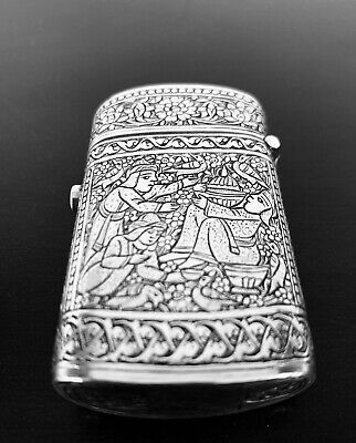Rare Antique hand engraved Persian Islamic Arabic solid silver matches box 50 g