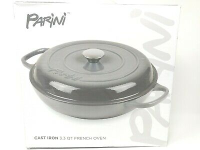 Cast Iron French Oven 3.3 QT Very Heavy Open Fire Capable Gray Enamel Coated