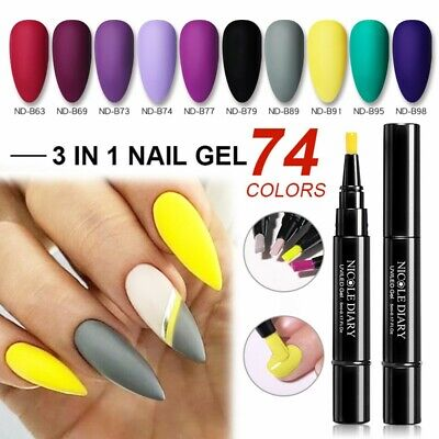 NICOLE DIARY One Step 3 in 1 Nail Art UV Gel Brush Pen No Need Base Top Polish