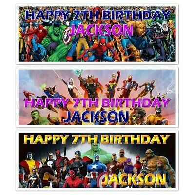 X 2 Personalised Superheroes Marvel Birthday Party Banners Name  Decoration