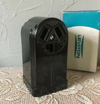 Vintage Leviton Surface Receptacle 30A 125/250V Art Deco Bakelite Outlet NOS