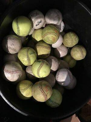 LOT 18 NEW- USED MIXED BRAND 12-inch SOFTBALLS YELLOW/ WHITE--  FREE SHIPPING !