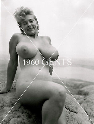 1950s NUDE 8X10 PHOTO OF BUSTY BIG NIPPLES VIRGINIA BELL FROM ORIGINAL NEG-1VB