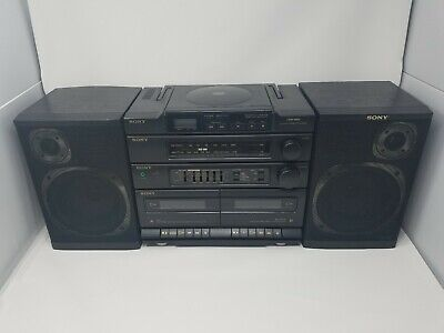 Sony CFD-460 AM/FM CD Dual Cassette BOOMBOX Stereo & Detachable Speakers