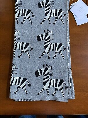Frolics Kids Collection Cotton Throw Blanket Gray with Zebra Reversible