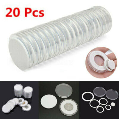 20Pcs 51mm Clear Round Plastic Coin Holder Capsule Container Storage Case Box