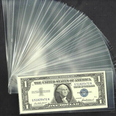 100pcs Pockets+Plastic Box Paper Money Currency For Storing Display Collection