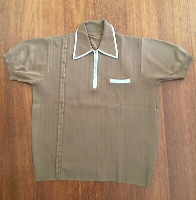 Men's Vintage Brown With Cream Trim Polyester Mod Style Polo Shirt Size M