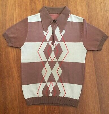Men's Vintage Brown Polyester Mod Style Polo Shirt Size M