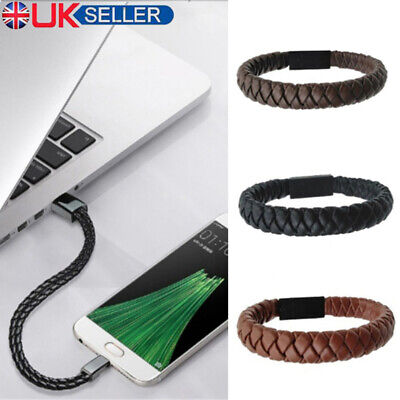 Portable USB Charging Cable Leather Bracelet Data Charger Sync Cord For phone