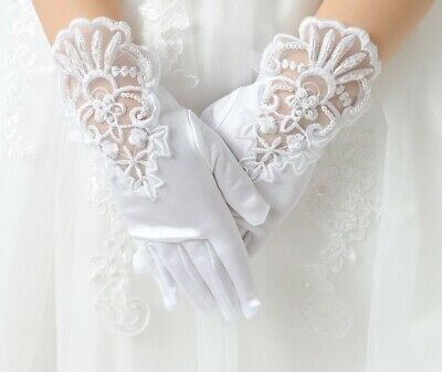 Girls First Communion White Gloves Pearl Short Lace Bow Elastic Mesh Cloth Glove