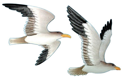 2 Metal Flying Gull Wall Plaques NEW Home Décor Accents