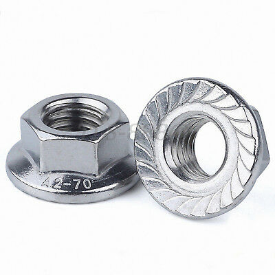 M3,4,5,6,8,10,12 Serrated Flange Lock Nuts to Fit Bolt & Screw SUS 201 Stainless
