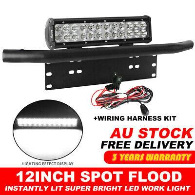 12 inch CREE Combo LED Light Bar + Black Number Plate Frame Mount Bracket + Wire