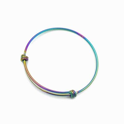 2 x Stainless Steel Rainbow Anodized Expandable Bangle Bracelets - Three Sizes