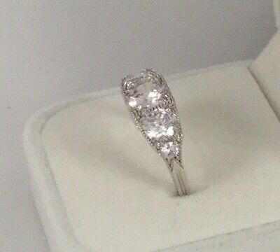 Vintage Jewellery Ring with White Sapphires Antique Art Deco Jewelry size 6