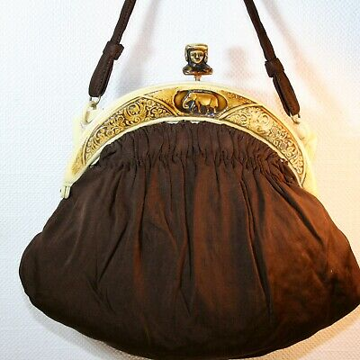 Antik Handtasche ART NOUVEAU EVENING Hand BAG  Celluloid Thema  Afrika