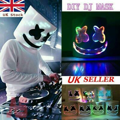 Halloween LED MarshMello DJ Mask Full Head Helmet Cosplay Marks Bar Music Props