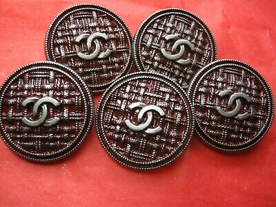 💋💋💋💋💋 Chanel 5 buttons  23mm lot of 5 maroon silver CC