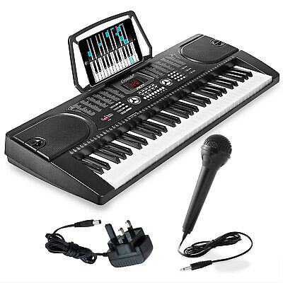 61 Keys Electronic Full Size Keyboard Digital MP3 Music Piano Microphone UK Plug