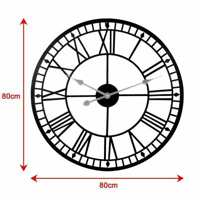 Outdoor 80cm Large Black Roman Numerals Metal Wall Clock Skeleton Iron Garden