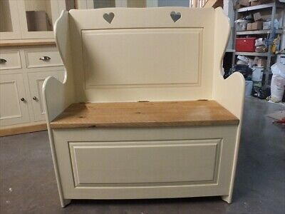 3' Painted Hearts Monks Bench F&B House White Settle Pew Seat Storage Hand Made