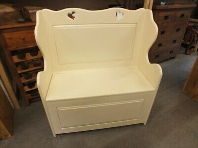 3' Painted Monks Bench Settle Pew Seat Storage Hand Made Solid Pine Dorset Cream