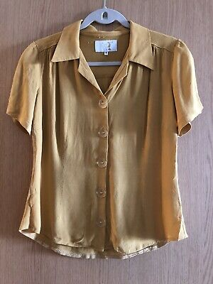 House Of Foxy 1940s Style Women's Shirt Blouse Mustard Yellow Size 8/10 Vintage