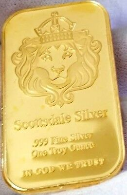 NEW Scottsdale Omnia , 1 oz .999 pure Silver Bar , 24k Gold Gilded 1