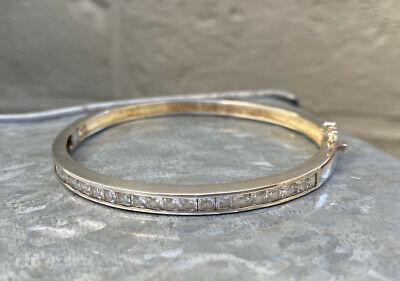 Vintage 925 Sterling Silver Bracelet Bangle With White Clear Square Stones