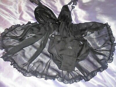 Stunning baby doll  sheer frilled with g string panties  cd/tv  52 chest black